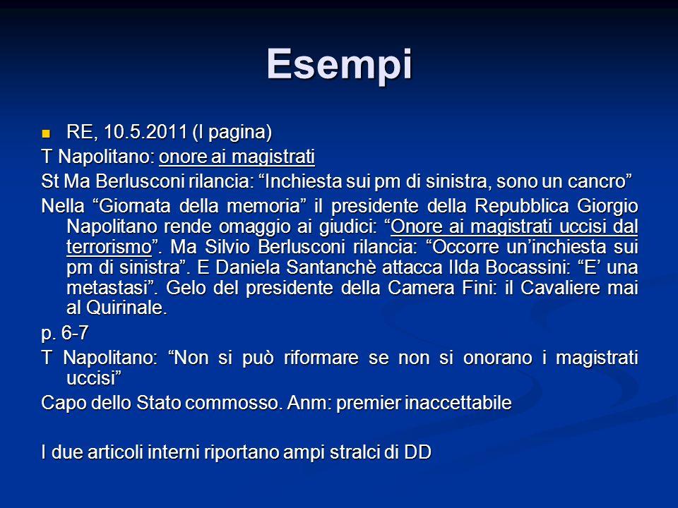 Esempi RE, 10.5.2011 (I pagina) RE, 10.5.2011 (I pagina) T Napolitano: onore ai magistrati St Ma Berlusconi rilancia: Inchiesta sui pm di sinistra, so