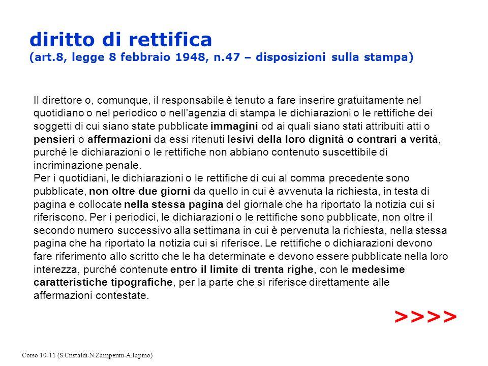 diritto di rettifica (art.8, legge 8 febbraio 1948, n.47 – disposizioni sulla stampa) Il direttore o, comunque, il responsabile è tenuto a fare inseri