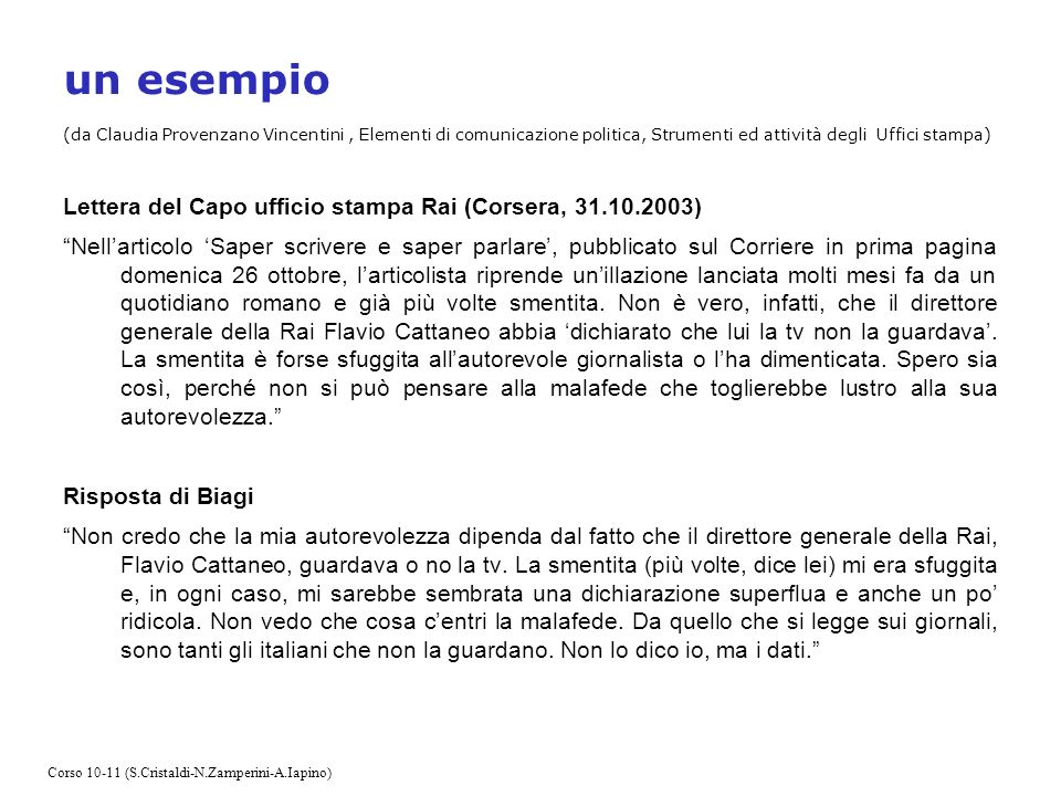 un esempio (da Claudia Provenzano Vincentini, Elementi di comunicazione politica, Strumenti ed attività degli Uffici stampa) Lettera del Capo ufficio