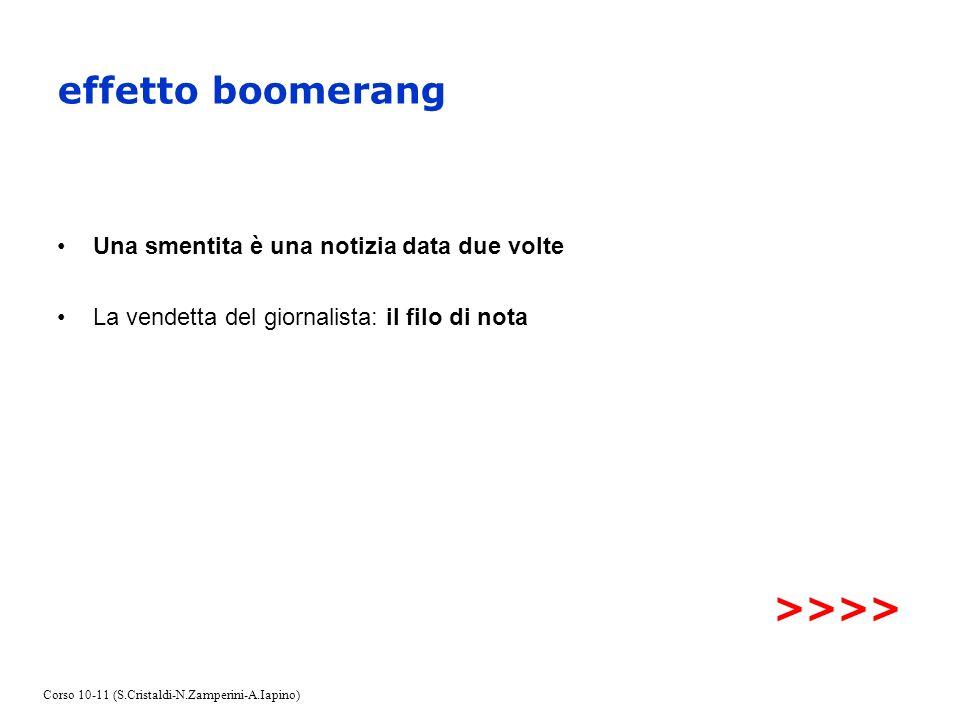 effetto boomerang Una smentita è una notizia data due volte La vendetta del giornalista: il filo di nota >>>> Corso 10-11 (S.Cristaldi-N.Zamperini-A.I