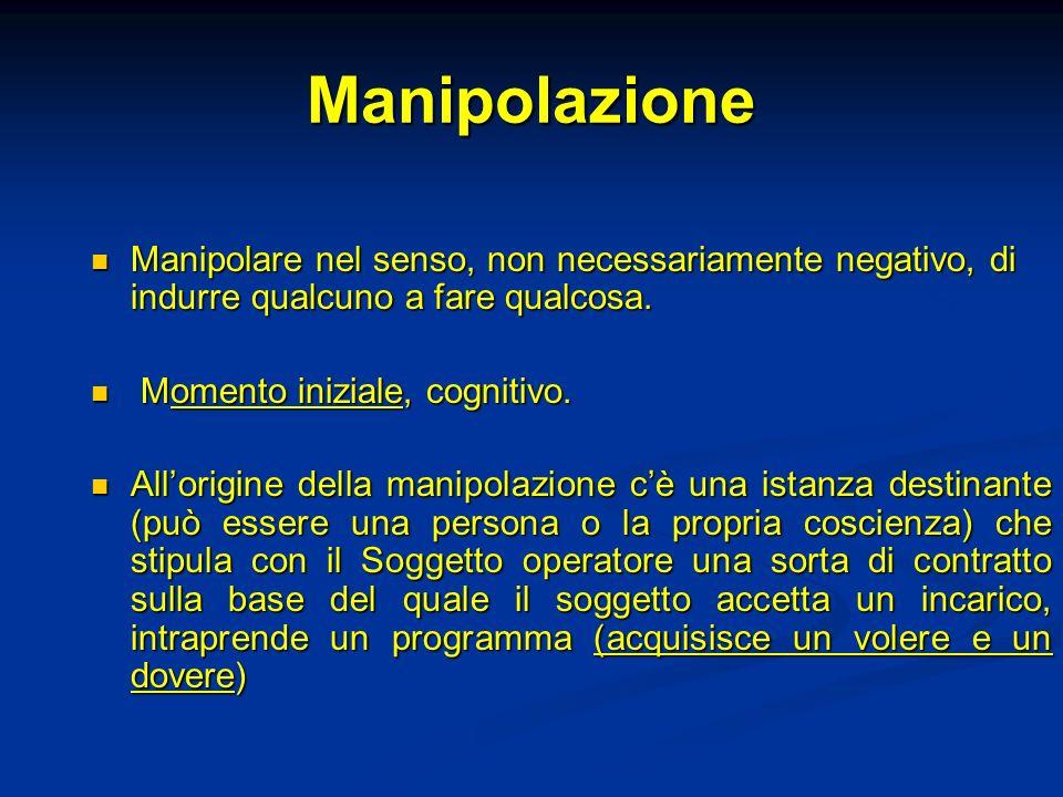Manipolazione Manipolare nel senso, non necessariamente negativo, di indurre qualcuno a fare qualcosa. Manipolare nel senso, non necessariamente negat