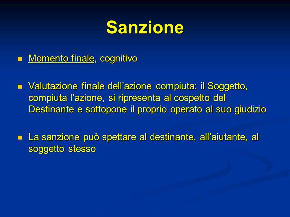 Sanzione Momento finale, cognitivo Momento finale, cognitivo Valutazione finale dellazione compiuta: il Soggetto, compiuta lazione, si ripresenta al c