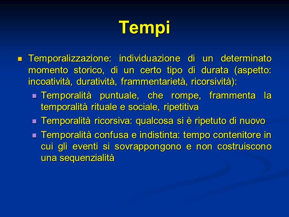 Tempi Temporalizzazione: individuazione di un determinato momento storico, di un certo tipo di durata (aspetto: incoatività, duratività, frammentariet