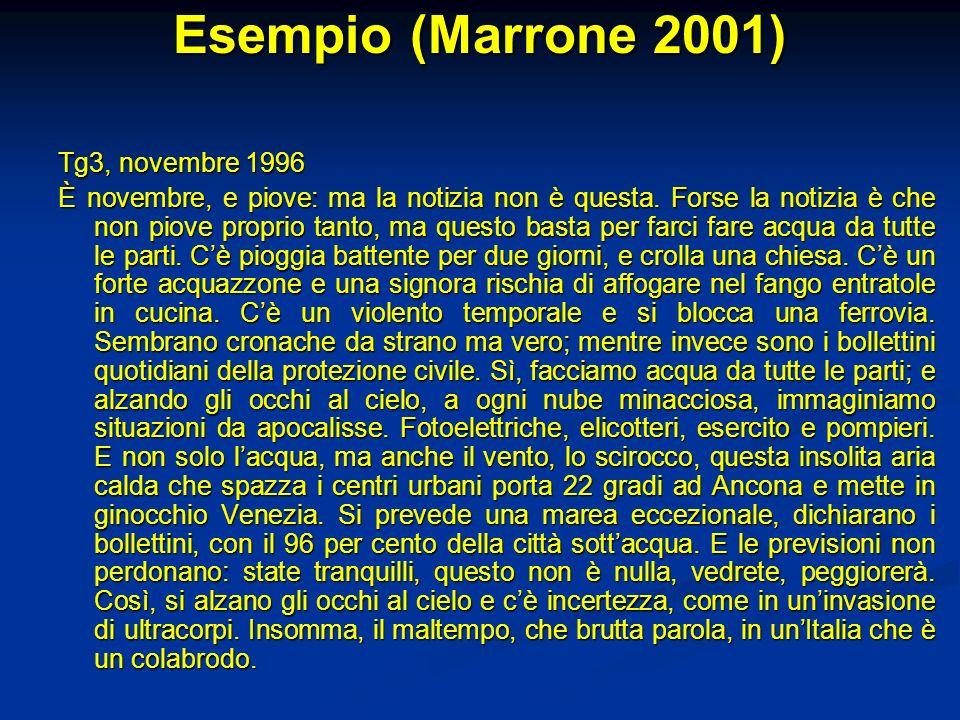 Esempio (Marrone 2001) Tg3, novembre 1996 È novembre, e piove: ma la notizia non è questa. Forse la notizia è che non piove proprio tanto, ma questo b
