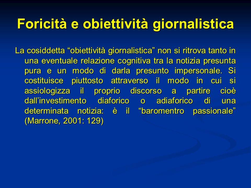 Foricità e obiettività giornalistica La cosiddetta obiettività giornalistica non si ritrova tanto in una eventuale relazione cognitiva tra la notizia