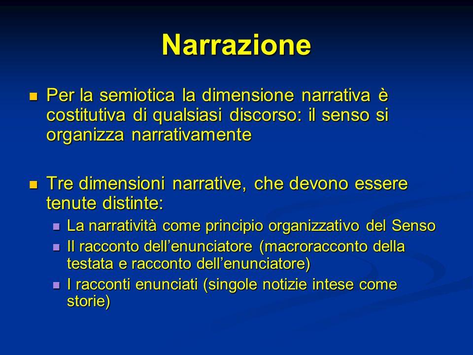 Narrazione Per la semiotica la dimensione narrativa è costitutiva di qualsiasi discorso: il senso si organizza narrativamente Per la semiotica la dime