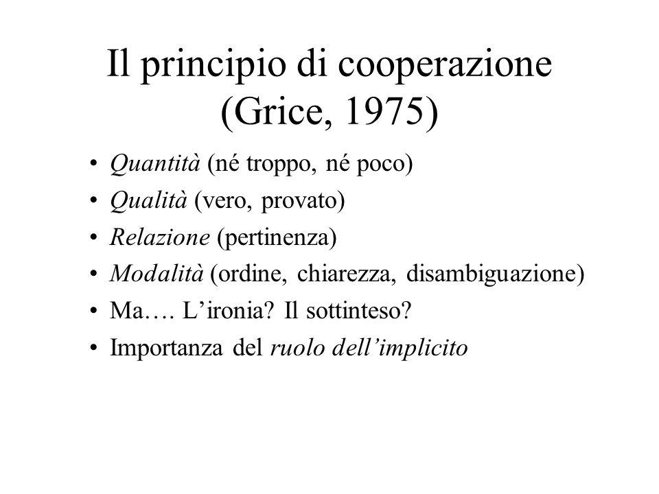 Il principio di cooperazione (Grice, 1975) Quantità (né troppo, né poco) Qualità (vero, provato) Relazione (pertinenza) Modalità (ordine, chiarezza, disambiguazione) Ma….