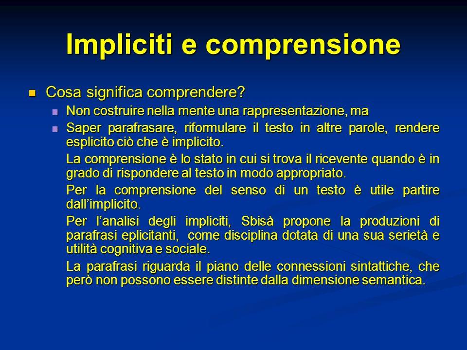 Impliciti e comprensione Cosa significa comprendere? Cosa significa comprendere? Non costruire nella mente una rappresentazione, ma Non costruire nell