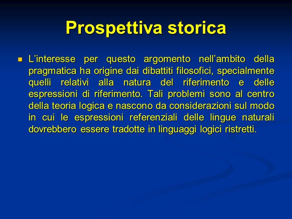 Prospettiva storica Linteresse per questo argomento nellambito della pragmatica ha origine dai dibattiti filosofici, specialmente quelli relativi alla