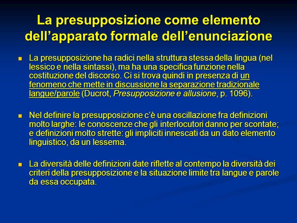 La presupposizione come elemento dellapparato formale dellenunciazione La presupposizione ha radici nella struttura stessa della lingua (nel lessico e
