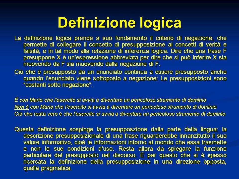 Definizione logica La definizione logica prende a suo fondamento il criterio di negazione, che permette di collegare il concetto di presupposizione ai