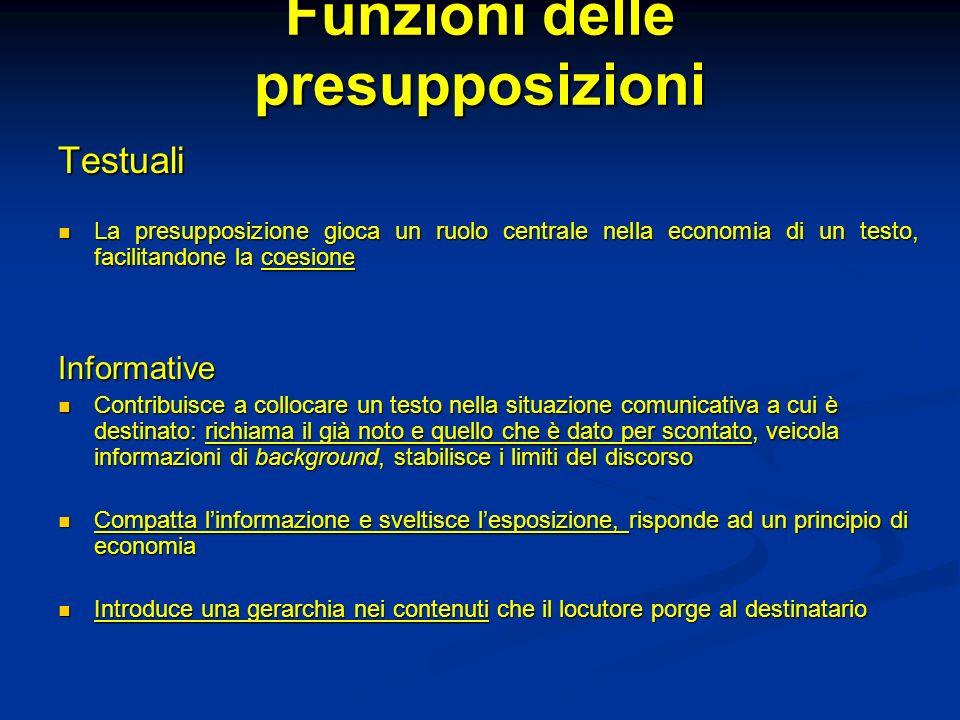 Funzioni delle presupposizioni Testuali La presupposizione gioca un ruolo centrale nella economia di un testo, facilitandone la coesione La presupposi
