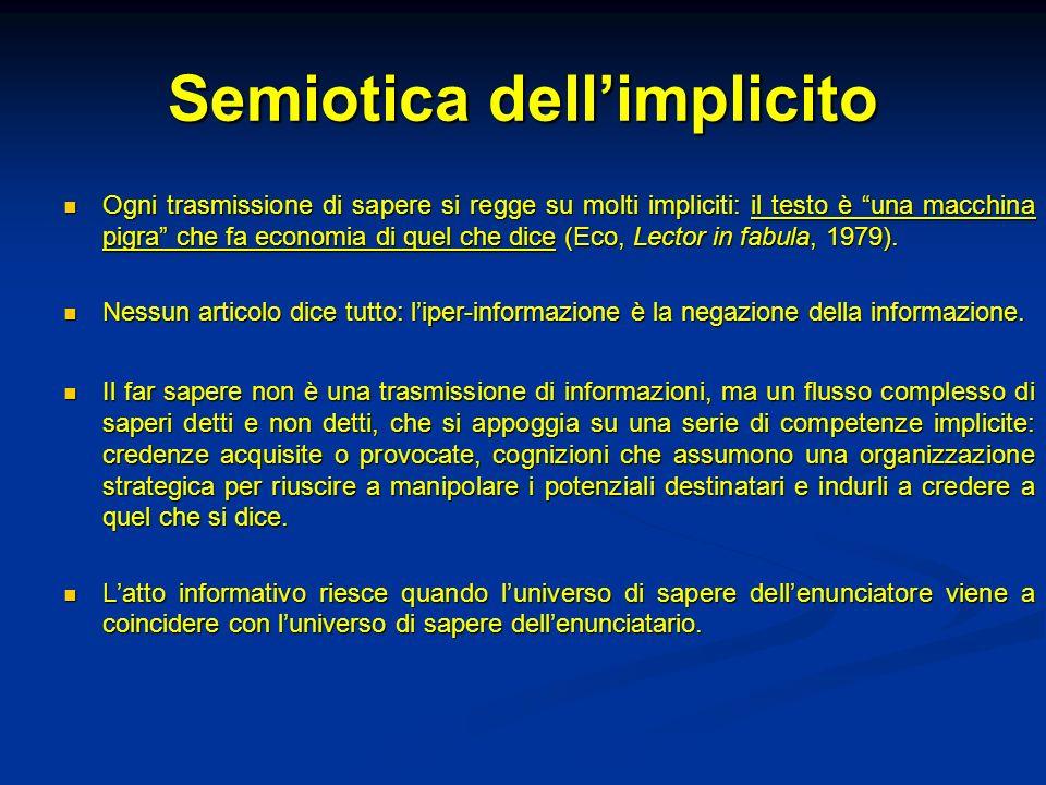 Semiotica dellimplicito Ogni trasmissione di sapere si regge su molti impliciti: il testo è una macchina pigra che fa economia di quel che dice (Eco,