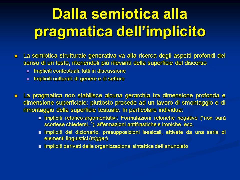 Dalla semiotica alla pragmatica dellimplicito La semiotica strutturale generativa va alla ricerca degli aspetti profondi del senso di un testo, ritene