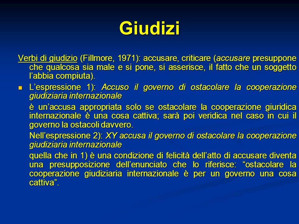 Giudizi Verbi di giudizio (Fillmore, 1971): accusare, criticare (accusare presuppone che qualcosa sia male e si pone, si asserisce, il fatto che un so