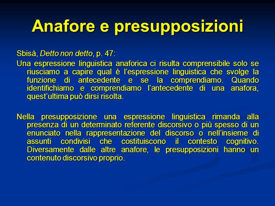 Anafore e presupposizioni Sbisà, Detto non detto, p. 47: Una espressione linguistica anaforica ci risulta comprensibile solo se riusciamo a capire qua