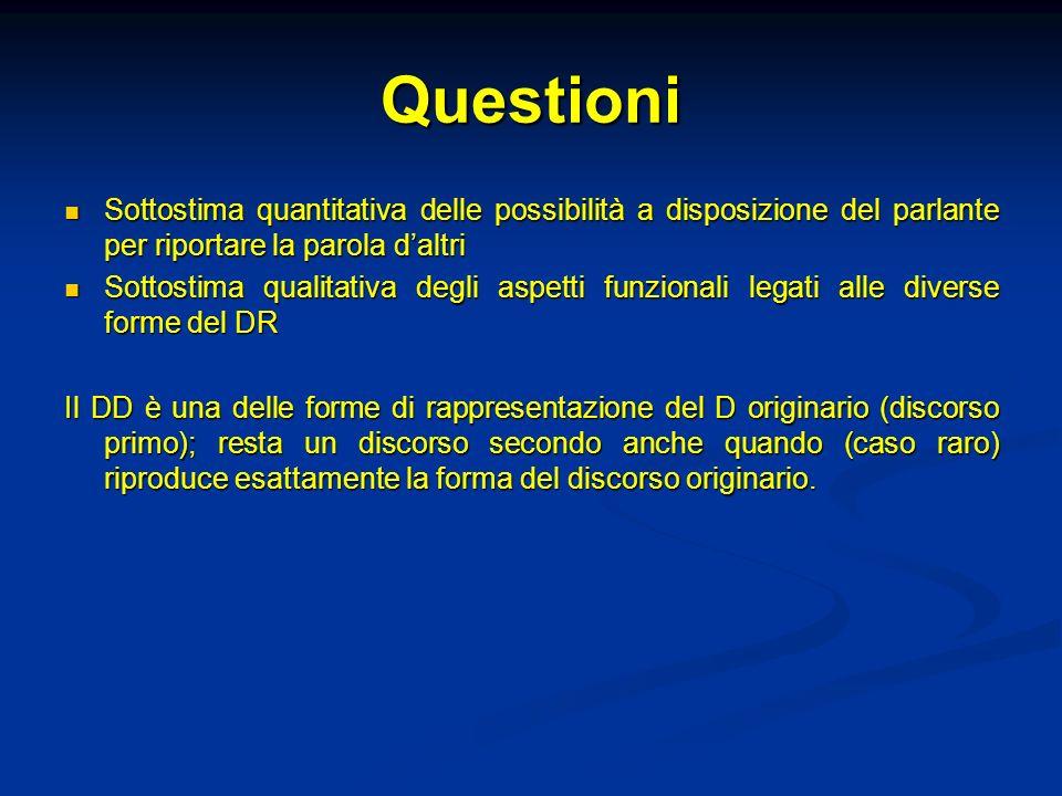 Questioni Sottostima quantitativa delle possibilità a disposizione del parlante per riportare la parola daltri Sottostima quantitativa delle possibili