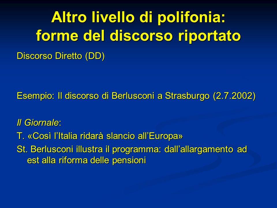Altro livello di polifonia: forme del discorso riportato Discorso Diretto (DD) Esempio: Il discorso di Berlusconi a Strasburgo (2.7.2002) Il Giornale: