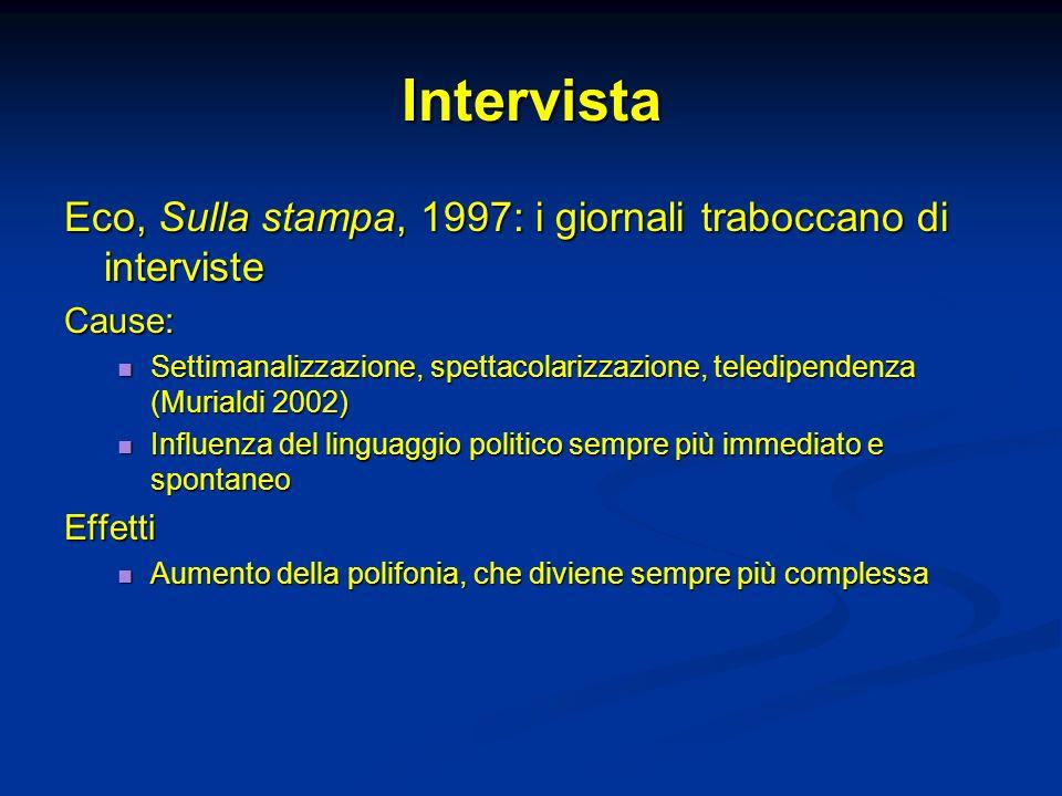 Intervista Eco, Sulla stampa, 1997: i giornali traboccano di interviste Cause: Settimanalizzazione, spettacolarizzazione, teledipendenza (Murialdi 200