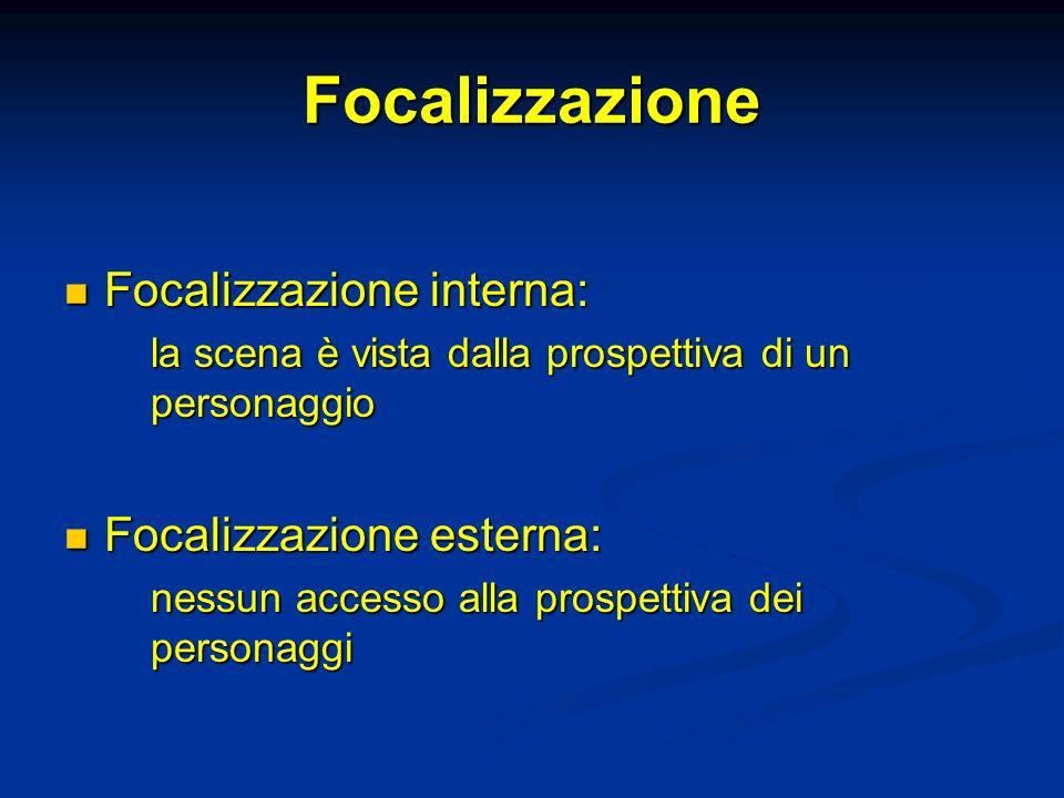 Focalizzazione Focalizzazione interna: Focalizzazione interna: la scena è vista dalla prospettiva di un personaggio Focalizzazione esterna: Focalizzaz