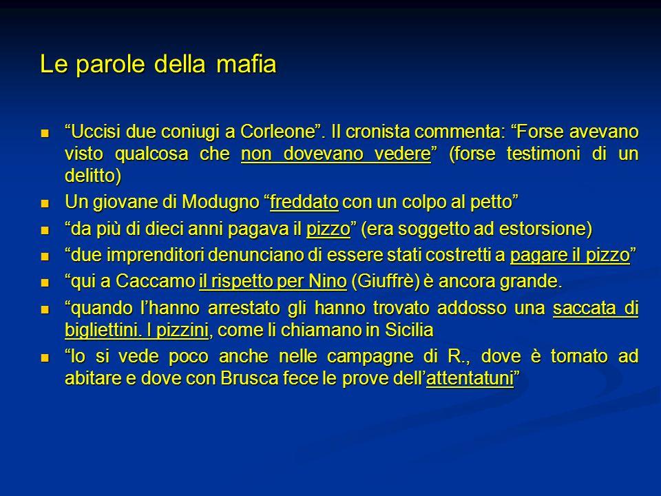 Le parole della mafia Uccisi due coniugi a Corleone. Il cronista commenta: Forse avevano visto qualcosa che non dovevano vedere (forse testimoni di un