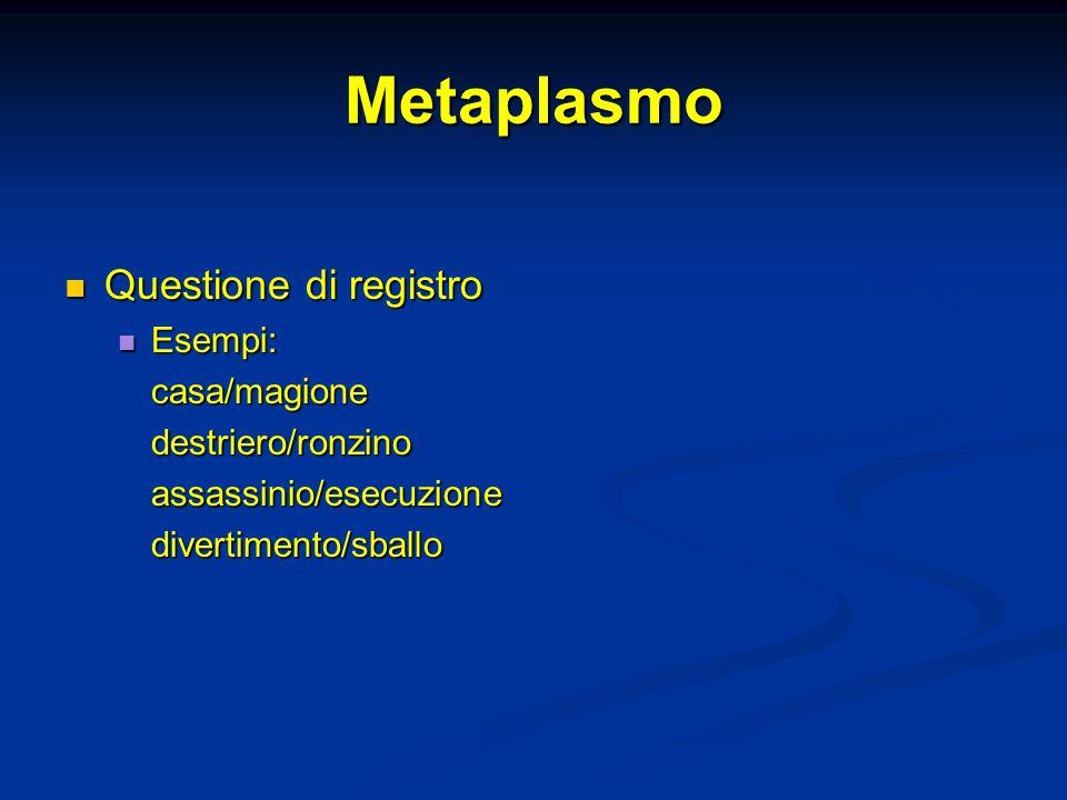 Metaplasmo Questione di registro Questione di registro Esempi: Esempi:casa/magionedestriero/ronzinoassassinio/esecuzionedivertimento/sballo