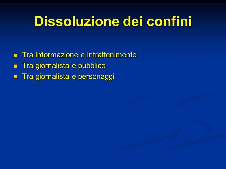 Dissoluzione dei confini Tra informazione e intrattenimento Tra informazione e intrattenimento Tra giornalista e pubblico Tra giornalista e pubblico T