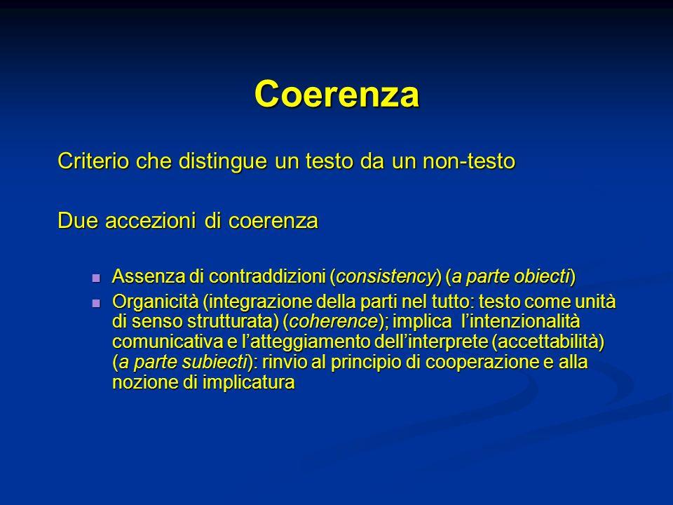 Coerenza Criterio che distingue un testo da un non-testo Due accezioni di coerenza Assenza di contraddizioni (consistency) (a parte obiecti) Assenza di contraddizioni (consistency) (a parte obiecti) Organicità (integrazione della parti nel tutto: testo come unità di senso strutturata) (coherence); implica lintenzionalità comunicativa e latteggiamento dellinterprete (accettabilità) (a parte subiecti): rinvio al principio di cooperazione e alla nozione di implicatura Organicità (integrazione della parti nel tutto: testo come unità di senso strutturata) (coherence); implica lintenzionalità comunicativa e latteggiamento dellinterprete (accettabilità) (a parte subiecti): rinvio al principio di cooperazione e alla nozione di implicatura