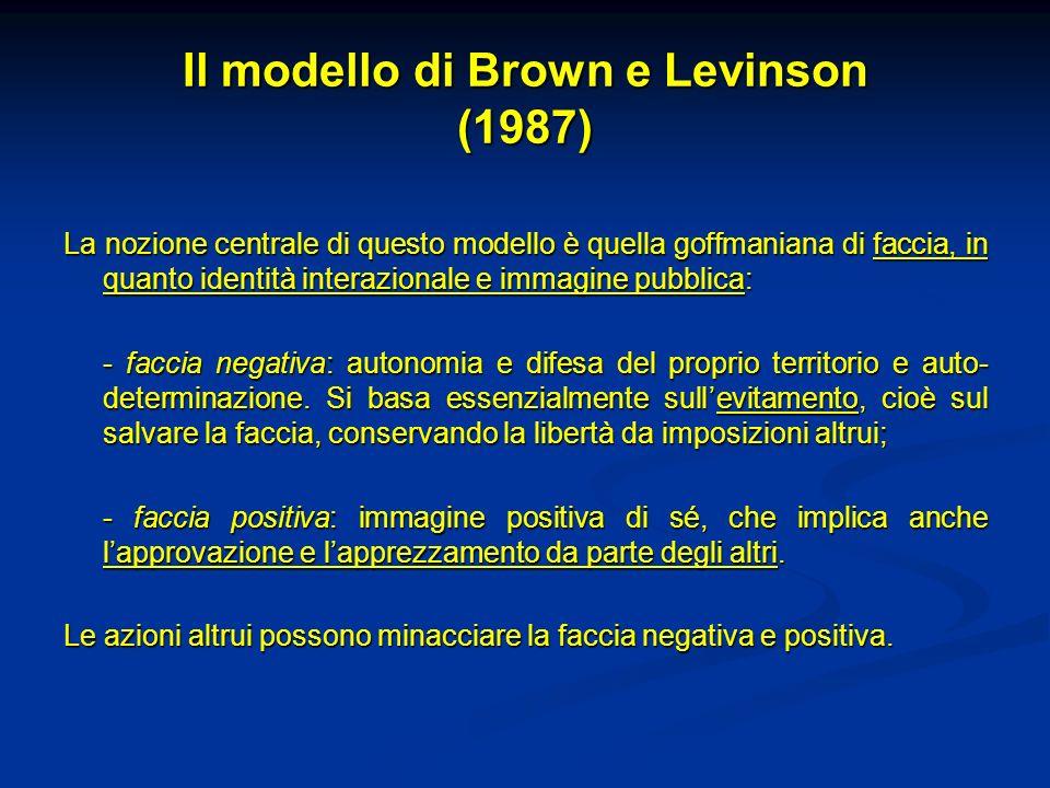 Il modello di Brown e Levinson (1987) La nozione centrale di questo modello è quella goffmaniana di faccia, in quanto identità interazionale e immagine pubblica: - faccia negativa: autonomia e difesa del proprio territorio e auto- determinazione.