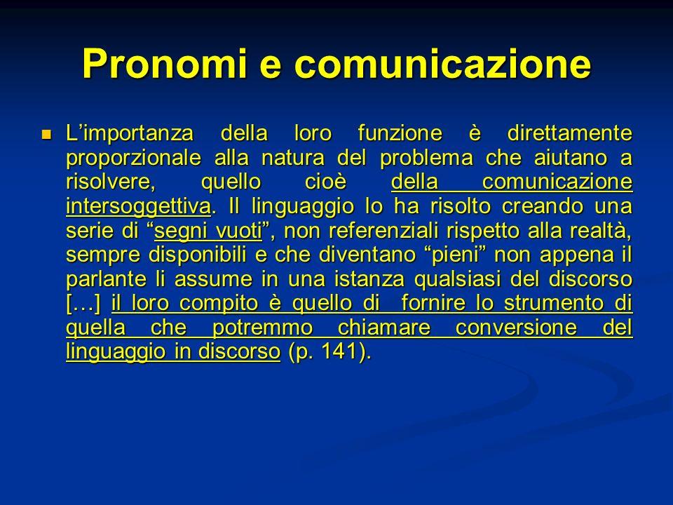 Carattere universale dei pronomi I pronomi risultano consegnati e insegnati nelle grammatiche, offerti alla stessa stregua degli altri segni e ugualmente disponibili.