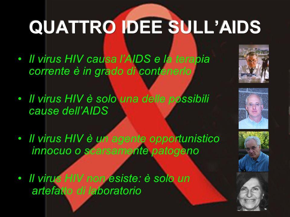Il virus HIV causa lAIDS e la terapia corrente è in grado di contenerlo Il virus HIV è solo una delle possibili cause dellAIDS Il virus HIV è un agent