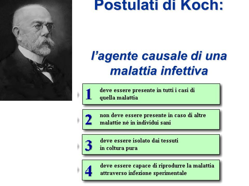 Postulati di Koch: lagente causale di una malattia infettiva
