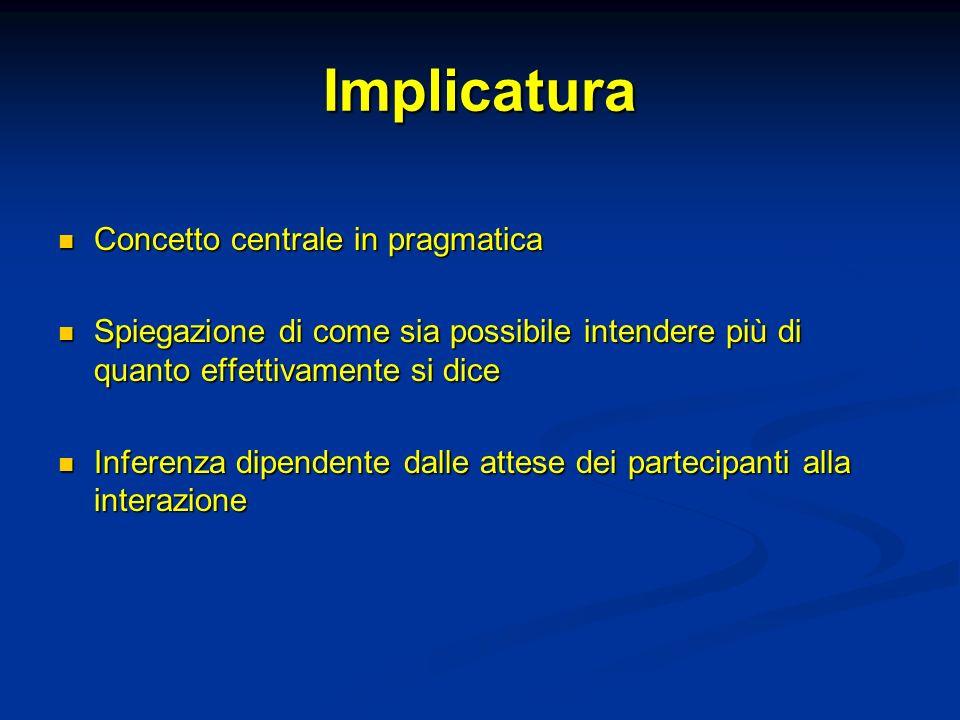 Implicatura Concetto centrale in pragmatica Concetto centrale in pragmatica Spiegazione di come sia possibile intendere più di quanto effettivamente s
