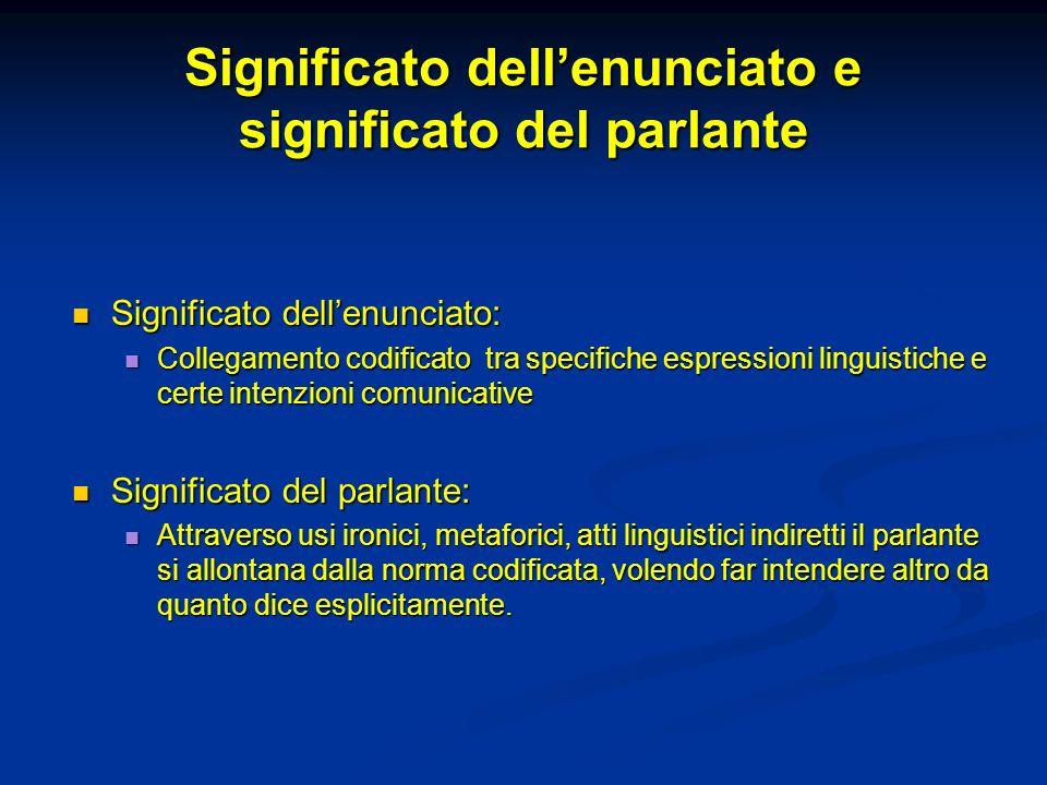 Significato dellenunciato e significato del parlante Significato dellenunciato: Significato dellenunciato: Collegamento codificato tra specifiche espr
