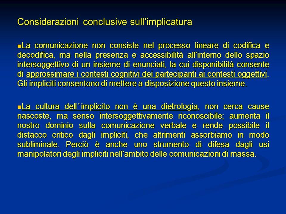 Considerazioni conclusive sullimplicatura La comunicazione non consiste nel processo lineare di codifica e decodifica, ma nella presenza e accessibili