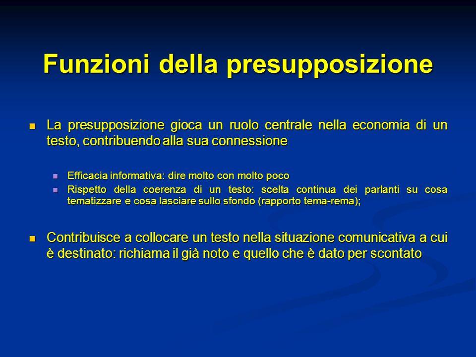 Funzioni della presupposizione La presupposizione gioca un ruolo centrale nella economia di un testo, contribuendo alla sua connessione La presupposiz