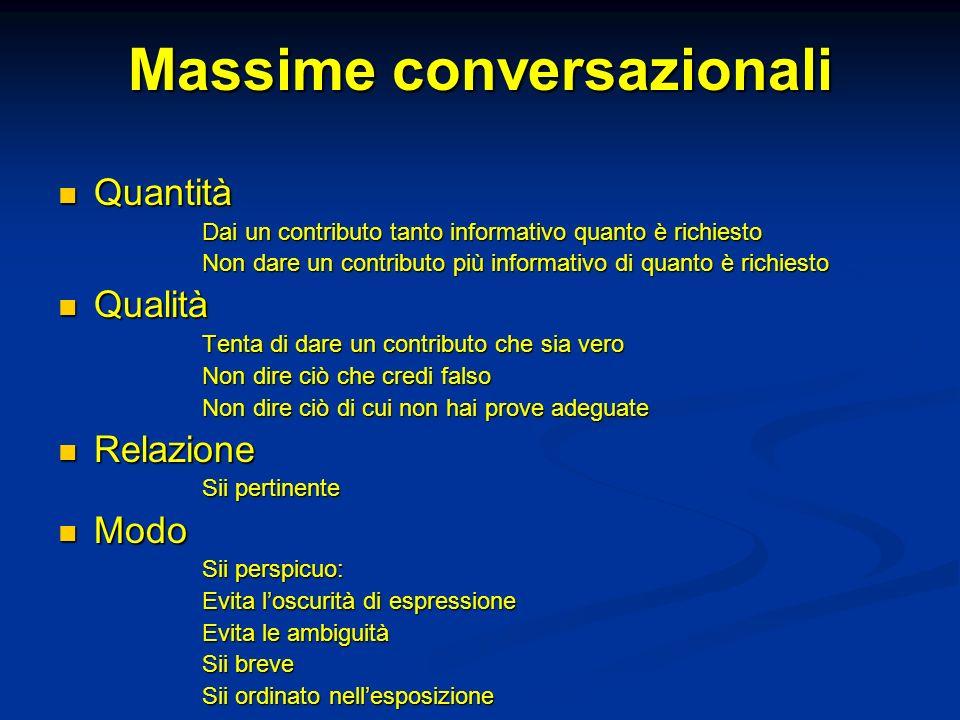 Massime conversazionali Quantità Quantità Dai un contributo tanto informativo quanto è richiesto Non dare un contributo più informativo di quanto è ri