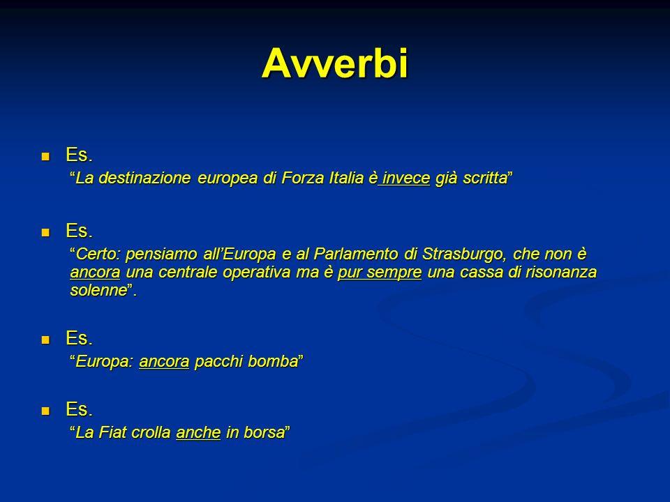 Avverbi Es. Es. La destinazione europea di Forza Italia è invece già scrittaLa destinazione europea di Forza Italia è invece già scritta Es. Es. Certo