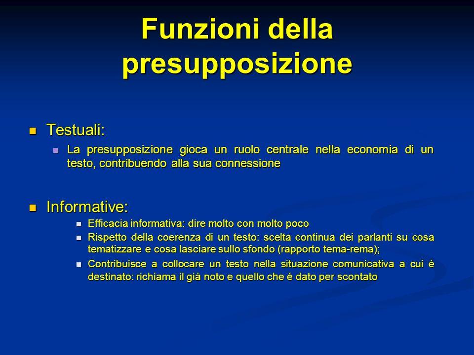 Funzioni della presupposizione Testuali: Testuali: La presupposizione gioca un ruolo centrale nella economia di un testo, contribuendo alla sua connes