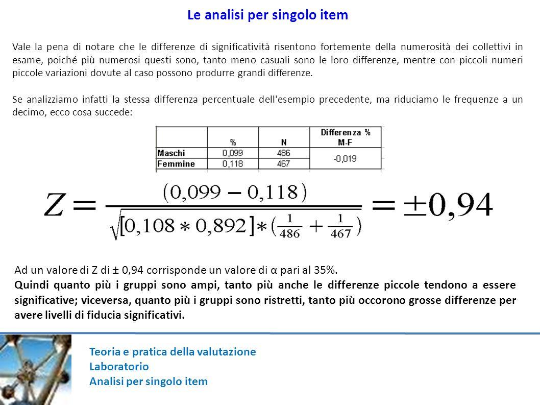 Teoria e pratica della valutazione Laboratorio Analisi per singolo item Le analisi per singolo item Vale la pena di notare che le differenze di signif