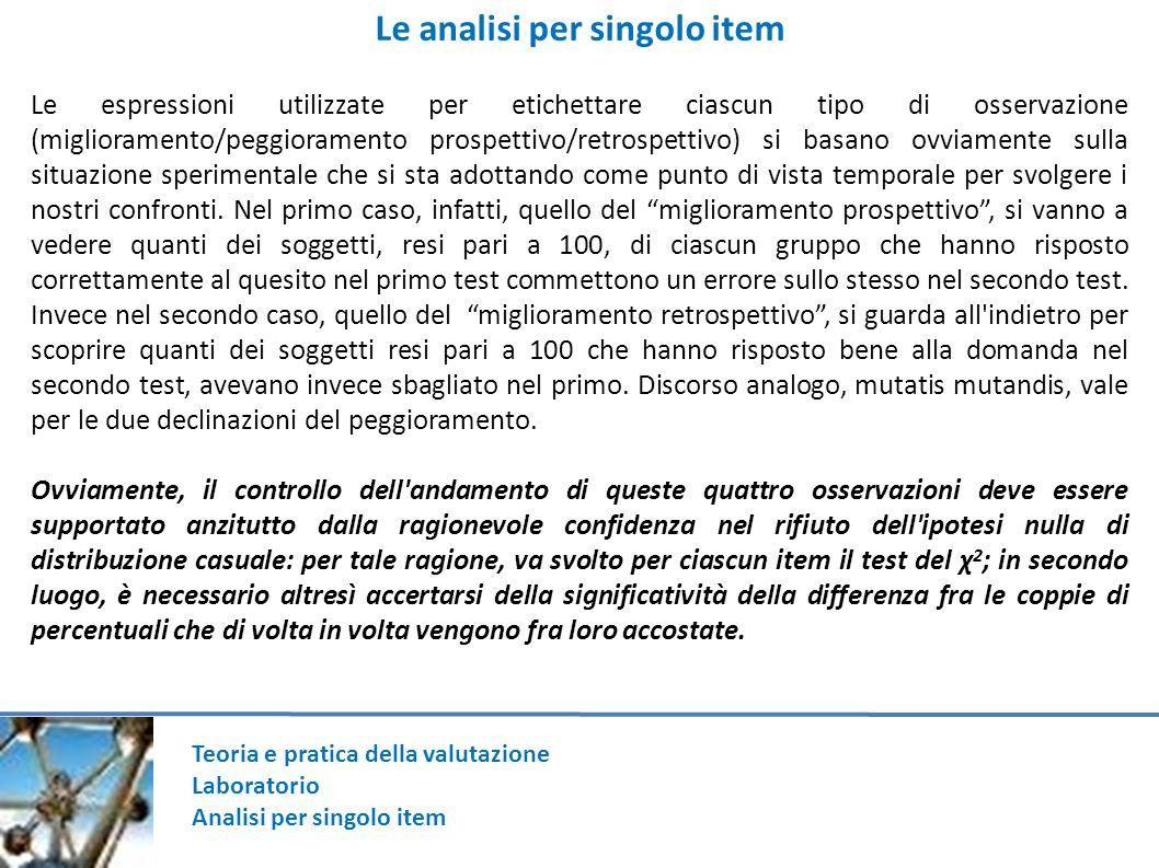 Teoria e pratica della valutazione Laboratorio Analisi per singolo item Le analisi per singolo item Le espressioni utilizzate per etichettare ciascun