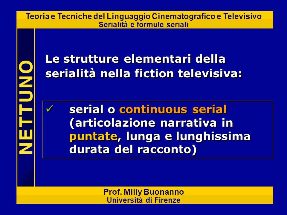 Teoria e Tecniche del Linguaggio Cinematografico e Televisivo Serialità e formule seriali Prof. Milly Buonanno Università di Firenze Le strutture elem