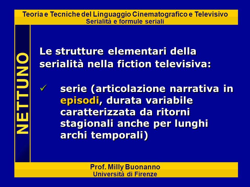 Teoria e Tecniche del Linguaggio Cinematografico e Televisivo Serialità e formule seriali Prof. Milly Buonanno Università di Firenze serie (articolazi