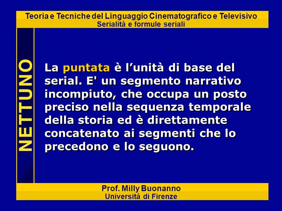 Teoria e Tecniche del Linguaggio Cinematografico e Televisivo Serialità e formule seriali Prof. Milly Buonanno Università di Firenze La puntata è luni