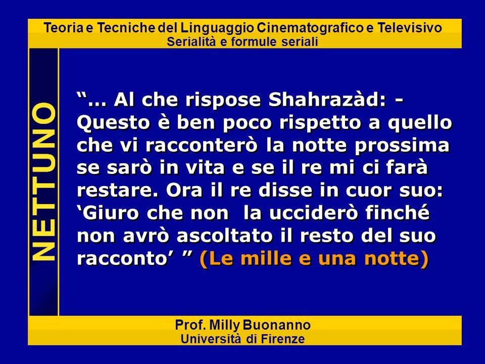 Teoria e Tecniche del Linguaggio Cinematografico e Televisivo Serialità e formule seriali Prof. Milly Buonanno Università di Firenze … Al che rispose