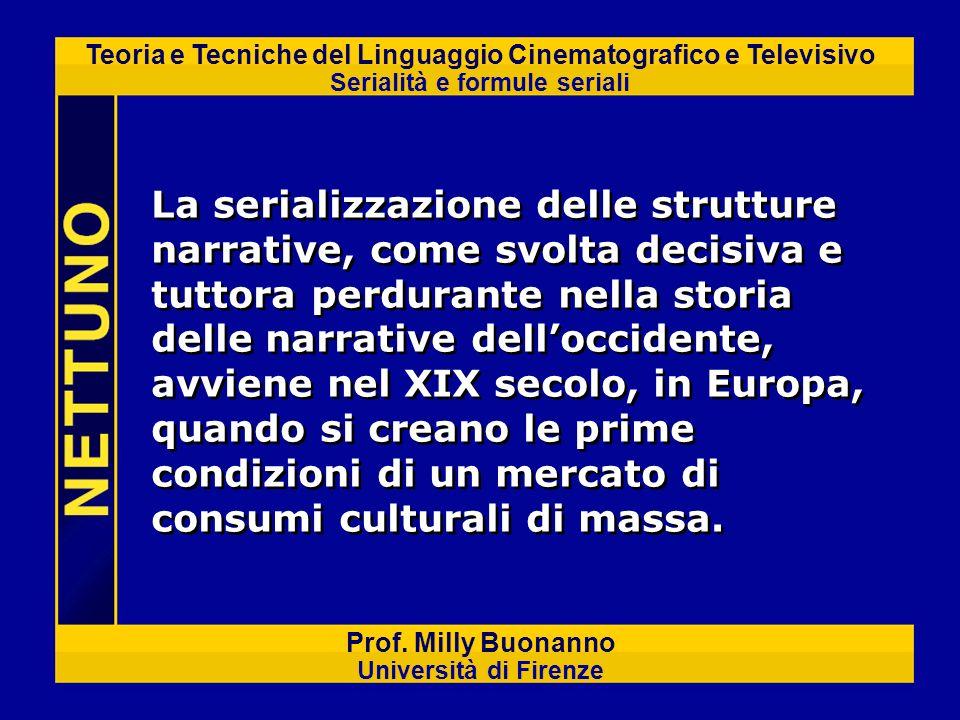 Teoria e Tecniche del Linguaggio Cinematografico e Televisivo Serialità e formule seriali Prof. Milly Buonanno Università di Firenze La serializzazion