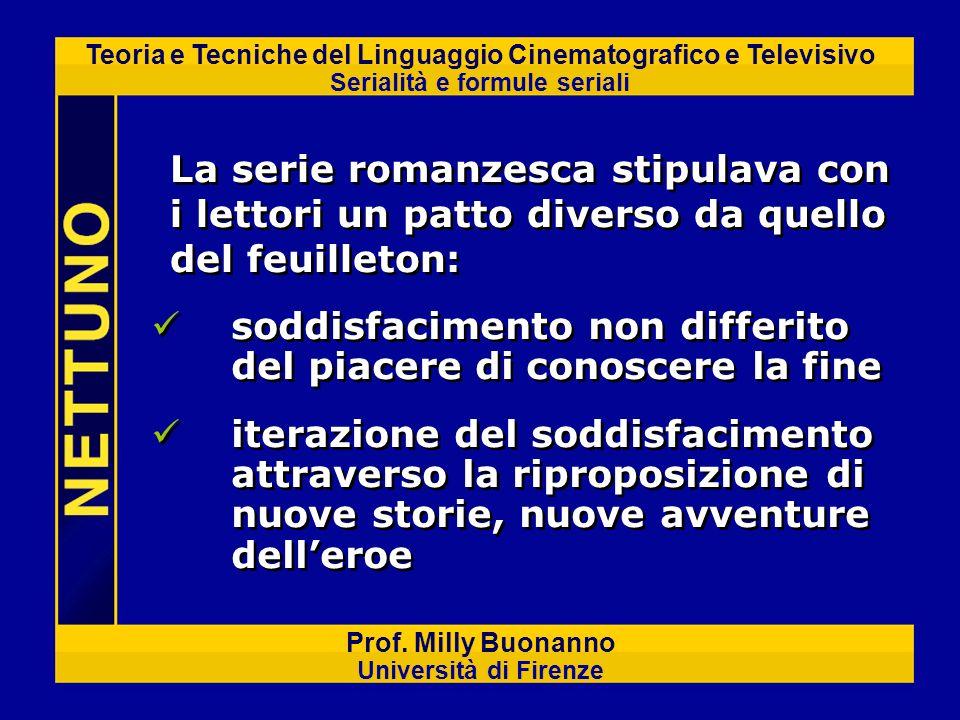 Teoria e Tecniche del Linguaggio Cinematografico e Televisivo Serialità e formule seriali Prof. Milly Buonanno Università di Firenze soddisfacimento n