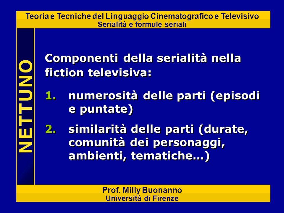 Teoria e Tecniche del Linguaggio Cinematografico e Televisivo Serialità e formule seriali Prof. Milly Buonanno Università di Firenze Componenti della
