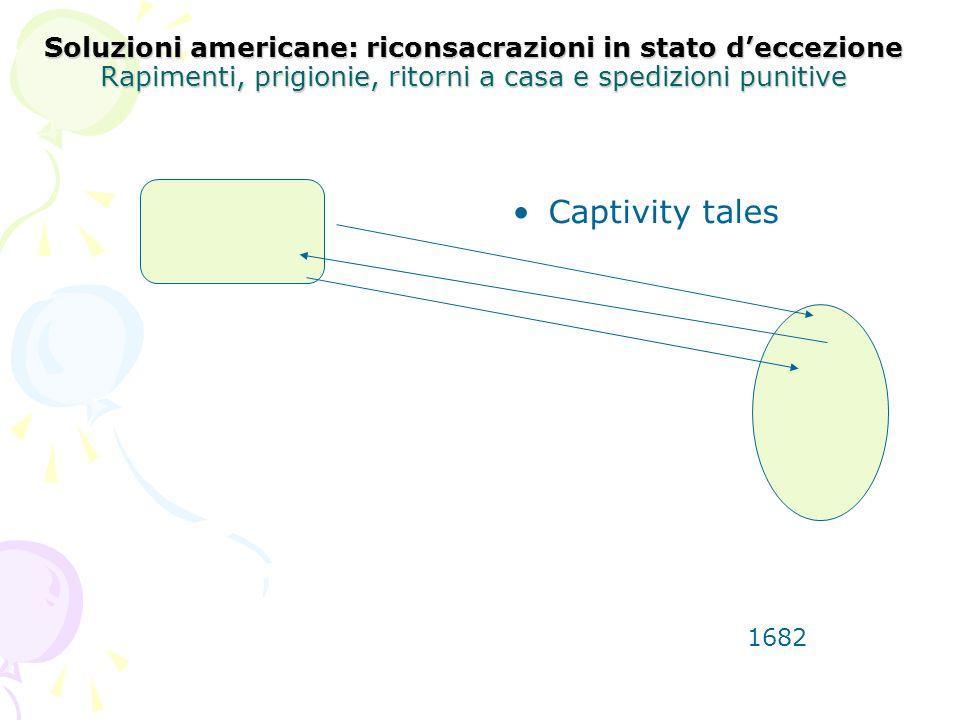 Soluzioni americane: riconsacrazioni in stato deccezione Rapimenti, prigionie, ritorni a casa e spedizioni punitive Captivity tales 1682