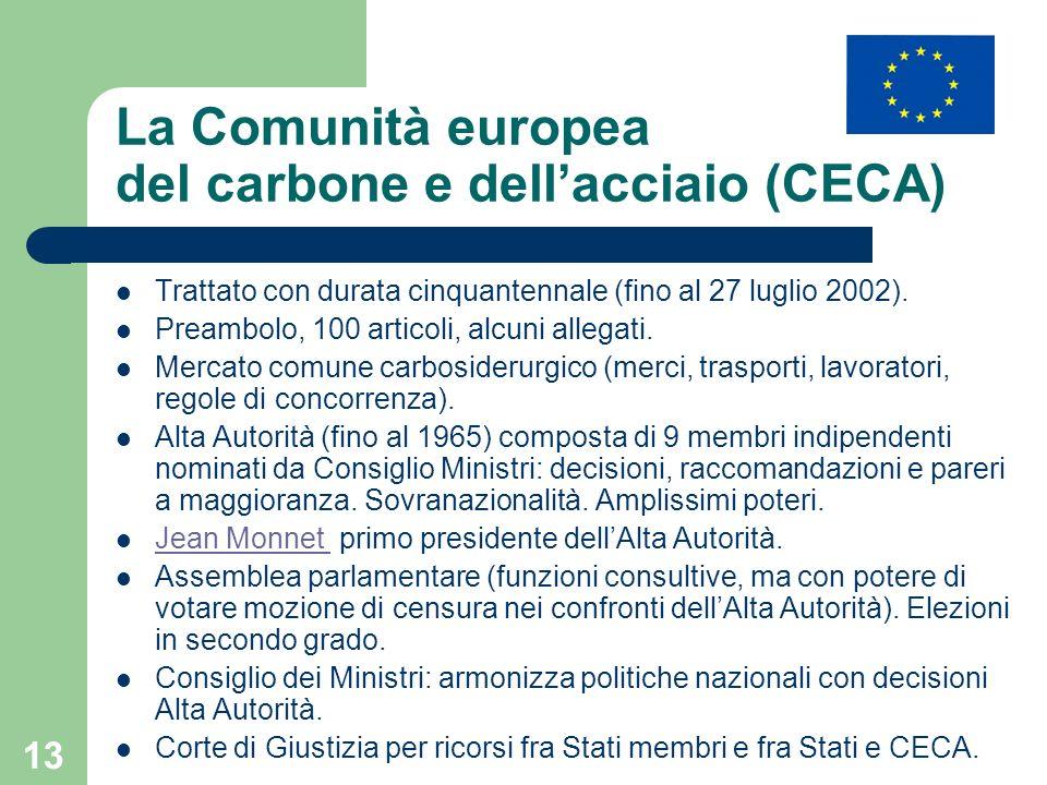 13 La Comunità europea del carbone e dellacciaio (CECA) Trattato con durata cinquantennale (fino al 27 luglio 2002). Preambolo, 100 articoli, alcuni a